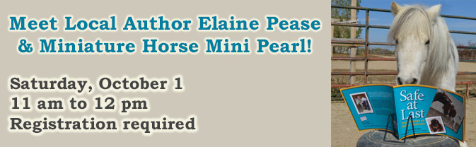 Local Author Elaine Pease and miniature horse Mini Pearl will visit the library on October 1.