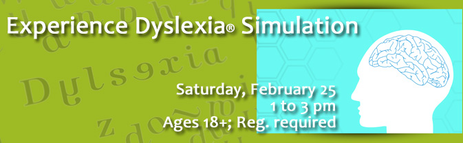 The library will be running a dyslexia simulation.