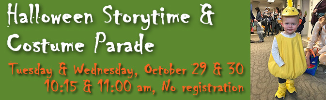 Head to the Library for ghoulish Halloween stories and a costume treak-or-treat parade through the Civic Center!