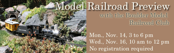 The Boulder Model Railroad Club will be assembling its December raffle award track and Longmont residents are invited to watch!