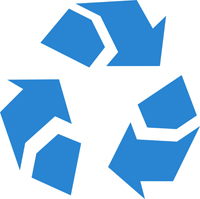 simple blue recycle icon