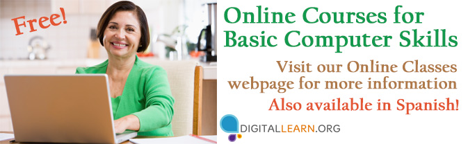 Learn basic computer skills, internet security precautions, and social media with this free resource.