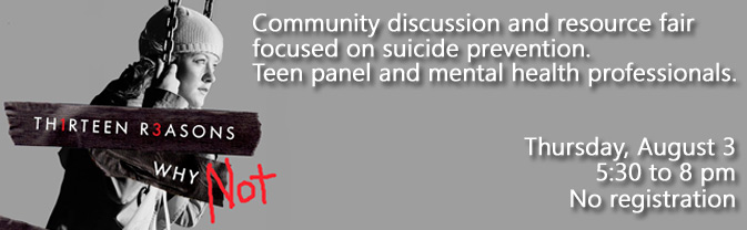 The Library and Youth Center are partnering to present a special program about suicide prevention.