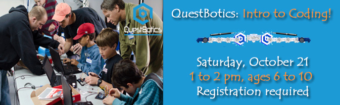 The Library is offering an introductory workshop for children ages 6-10 who want to learn coding with QuestBotics.