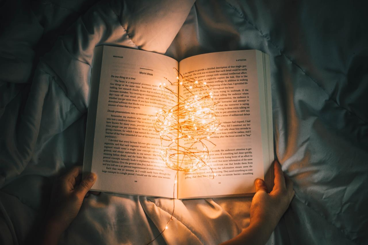 Lights Shining Inside a Book