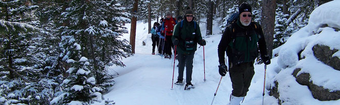 snowshoe winter trip seniors adults