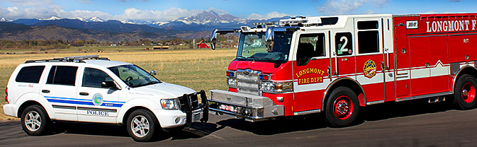 Longmont Police and Fire vehicles
