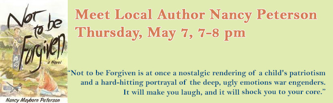 Local author Nancy Peterson will speak at the library.