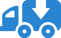 Blue garbage truck icon with white arrow on side