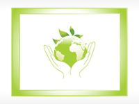 Hands holding green globe with leaves peeking out from behind