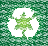 Recycle symbol in white on green abstract background