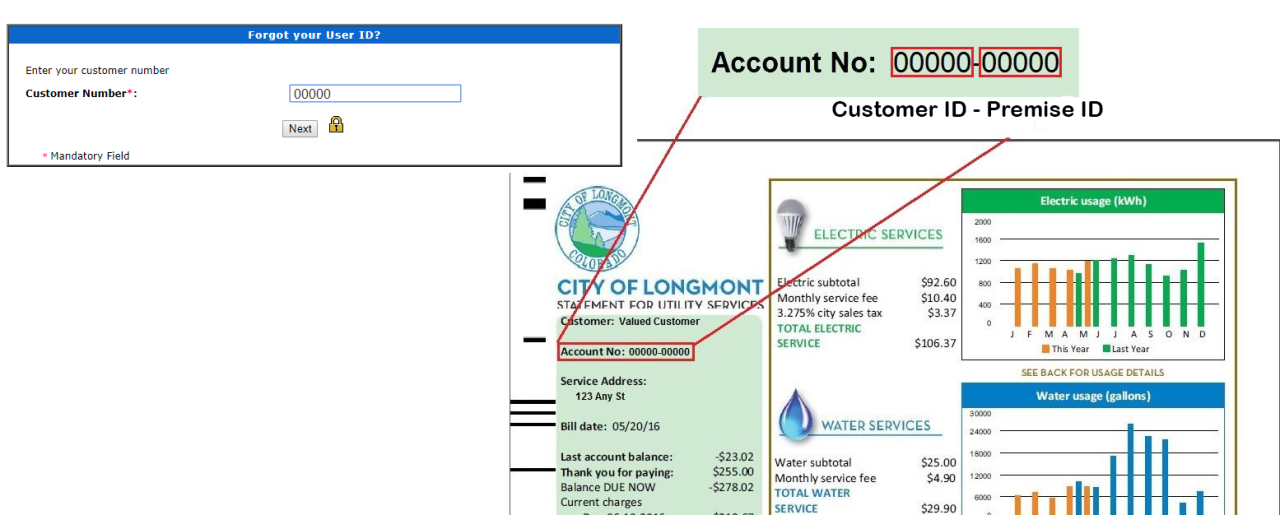 Click to Enlarge -Online Bill Payment Forgot User ID Screen