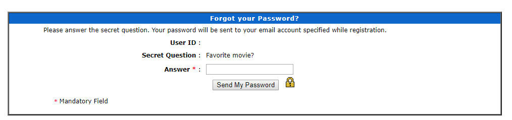 Click to Enlarge -Online Bill Payment Forgot Password Question Screen