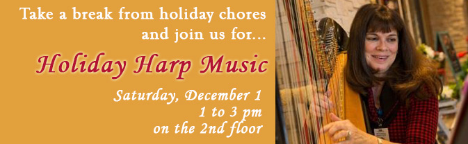 The Library will be filled with holiday harp music.