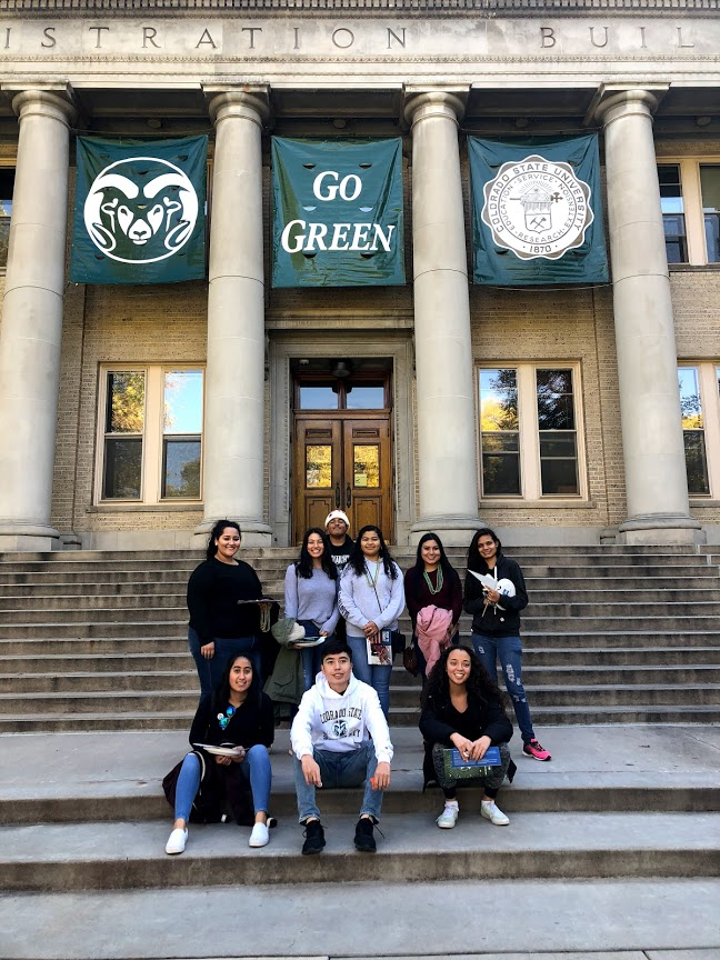 Youth on the steps of Colorado State University