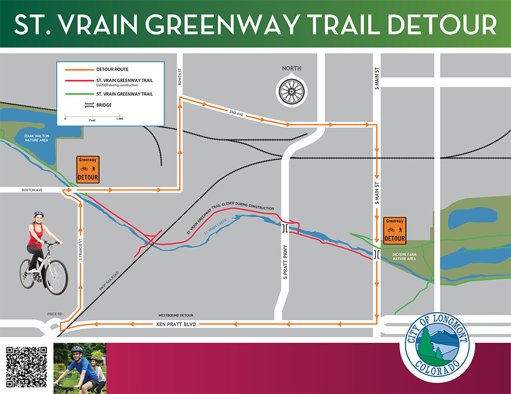 Detour Map for St. Vrain Greenway Trail