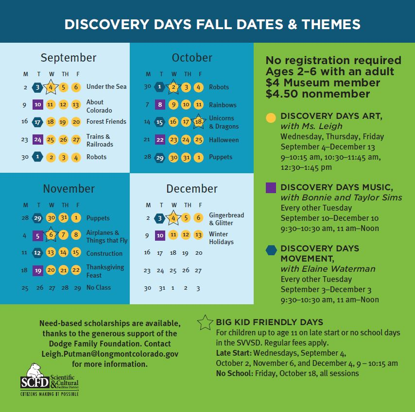 Discovery Days schedule fall 2019