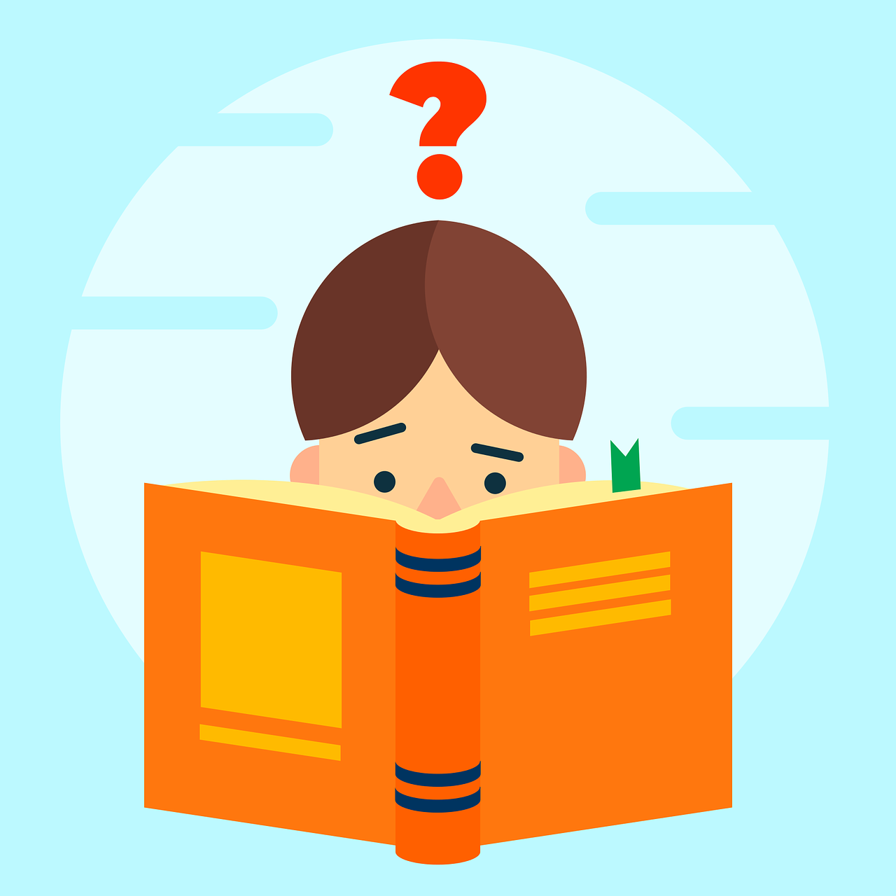 Child Reading With Question Mark Overhead