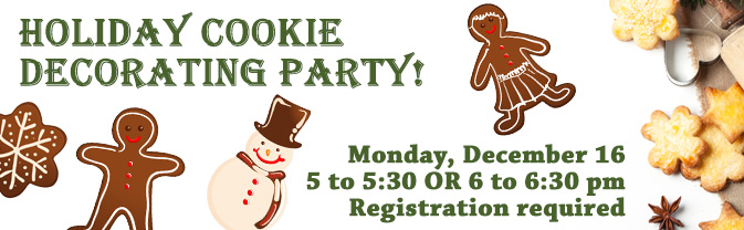 Come to the Library for a holiday cookie decorating party!