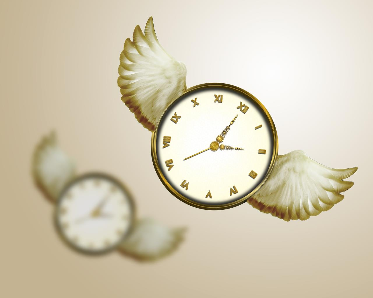 Image of clock with wings and its reflection