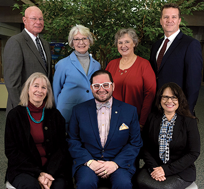 2019 City Council members. From top left: Tim Waters, Joan Peck, Marcia Martin, Mayor Brian Bagley, Susie Hidalgo-Fahring, Aren Rodriguez, Polly Christensen