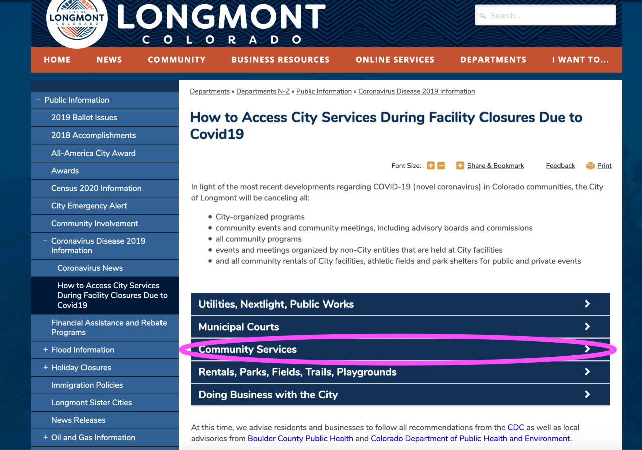 How to access City services covid 19