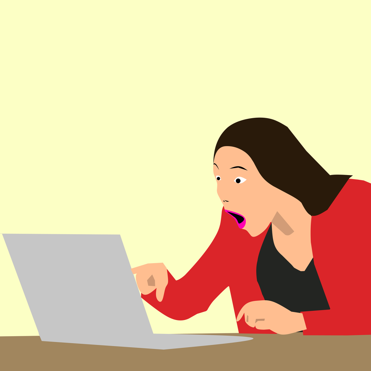 Surprised Woman on Laptop