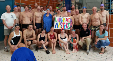 A photo of the Longmont Masters Swimming team at the Winter Sprinter Swim Meet in January 2013.