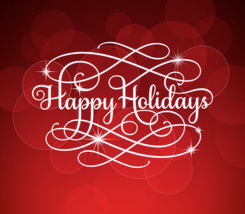 Happy Holidays script on red background