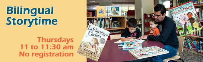 The Library offers bilingual storytime twice a month during the school year.
