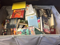 The library accepts donated books and magazines in good condition.