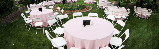 Table setup in Callahan Garden