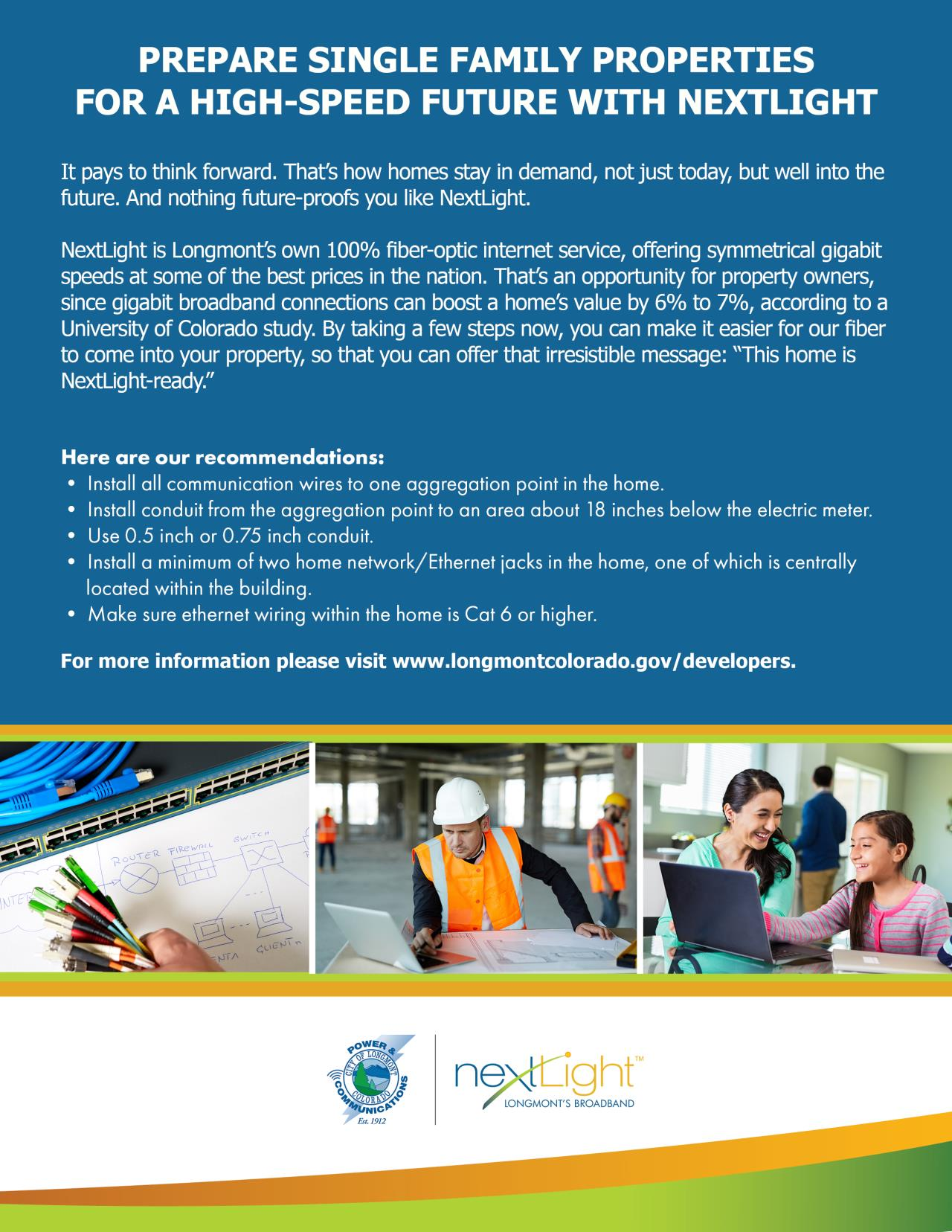 NextLight installation flyer for single family home developers