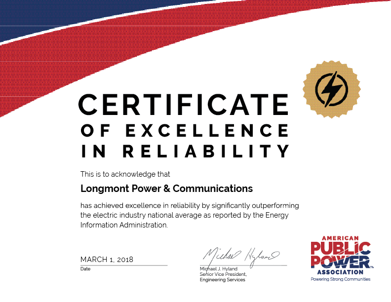 Button showing LPC 2018 Reliability Certificate from APPA